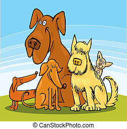divertido, cinco, perros