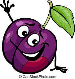 divertido, ciruela, fruta, caricatura, ilustración