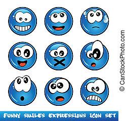 divertido, colección, sonrisas