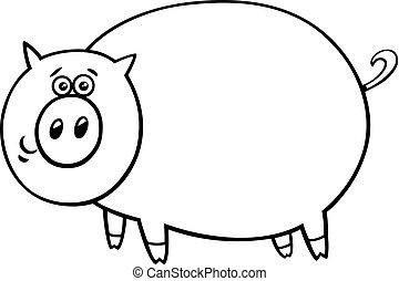 divertido, color, carácter, cerdo, libro, cómico, caricatura