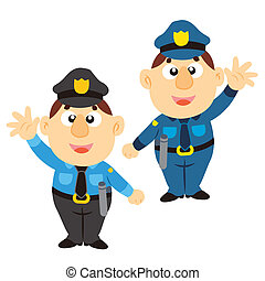 divertido, colores, policía, caricatura, dos