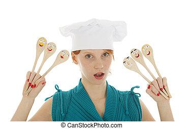 divertido, como, cocinero, mujer, con, cucharas