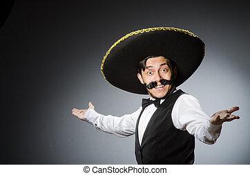 divertido, concepto, mexicano, hombre