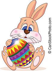 divertido, conejo pascua