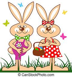divertido, conejos, con, cesta huevos pascua