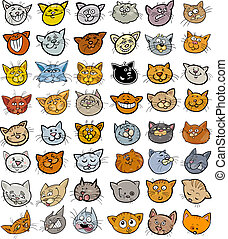 divertido, Conjunto, Cabezas, grande, gatos, caricatura