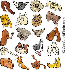 divertido, conjunto, cabezas, grande, perros, caricatura