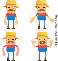 divertido, conjunto, caricatura, granjero