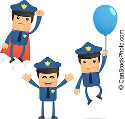 divertido, conjunto, caricatura, policía