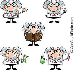 divertido, conjunto, colección, profesor, 2