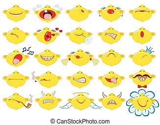 divertido, conjunto, eps10, mood., emociones, fondo., vector, ilustración, smileys., blanco
