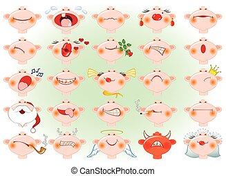 divertido, conjunto, eps10, mood., emociones, vector, ilustración, smileys.