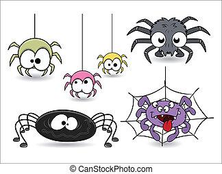 divertido, conjunto, halloween, arañas