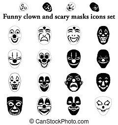 divertido, conjunto, iconos, simple, máscaras, payaso, asustadizo