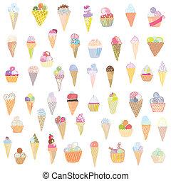 divertido, conjunto, pinturas, -, hielo, mano, diseño, dibujado, crema