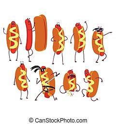 divertido, conjunto, plano, alimento, concept., carácter, perro, rápido, caliente, vector, ilustración, action., caricatura