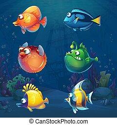 divertido, conjunto, submarino, pez, mundo, caricatura