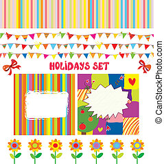 divertido, conjunto, vacaciones, elementos, diseño, fiesta,...
