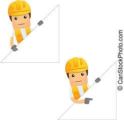divertido, constructor, conjunto, caricatura