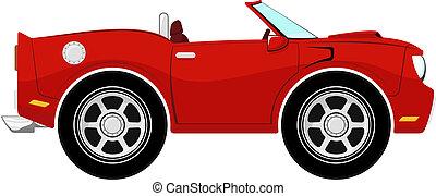 divertido, convertible, rojo