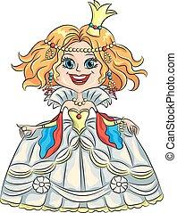 divertido, corona de oro, princesa, vector, caricatura