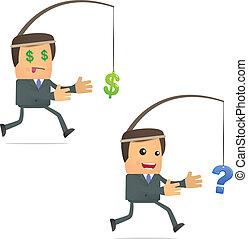 divertido, corriente, dólar, caricatura, hombre de negocios