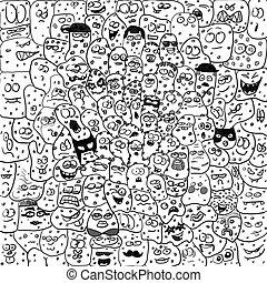 divertido, criaturas, bacteriums, caricatura