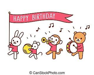 divertido, cumpleaños, desfile, animal, feliz