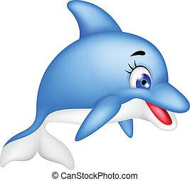 divertido, delfín, caricatura