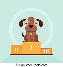 divertido, demostrar el perro, ganando, vector, perrito