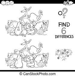 divertido, diferencias, colorido, animales, juego