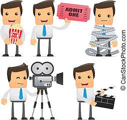 divertido, director, conjunto, caricatura