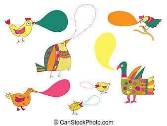 divertido, diseño determinado, burbujas, aves, hablar
