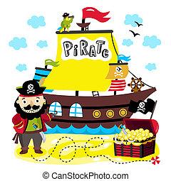 divertido, elementos, aislado, Plano de fondo, blanco, pirata