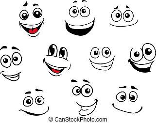 divertido, emocional, conjunto, caricatura, caras