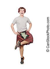 divertido, escocés, blanco, aislado