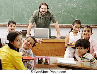 divertido, escuela, interacción, profesor, entre, niños, ...