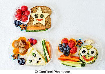 divertido, escuela, niños, forma, alimento, almuerzo, Cajas,...