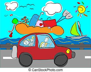 divertido, feliz, caricatura, coche