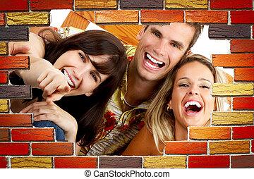divertido, feliz, gente