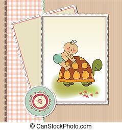divertido, fiesta de nacimiento, tarjeta