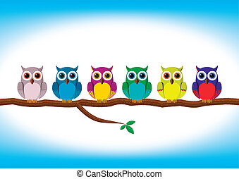 divertido, fila, colorido, búhos