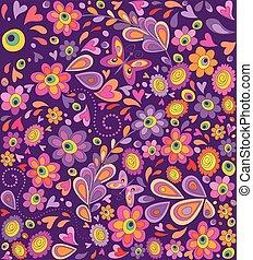 divertido, flores, hippie, papel pintado