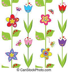 divertido, flores, papel pintado, primavera