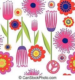 divertido, flores, papel pintado