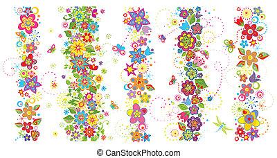 divertido, fronteras, flores, seamless, colorido