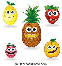 divertido, fruits, un