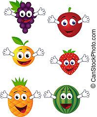 divertido, fruta, carácter