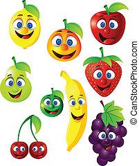 divertido, fruta, caricatura, carácter