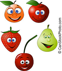 divertido, fruta, ilustración